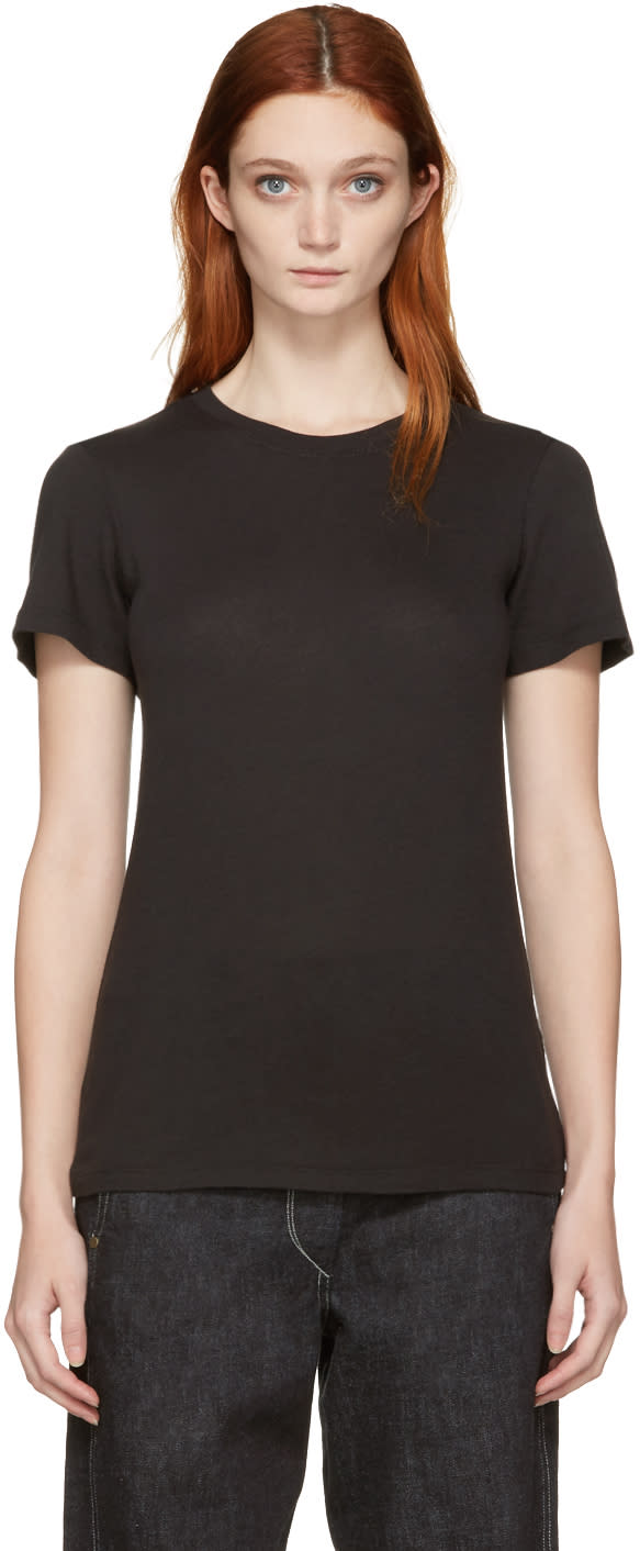 Raquel Allegra Black Jersey Slim T-shirt