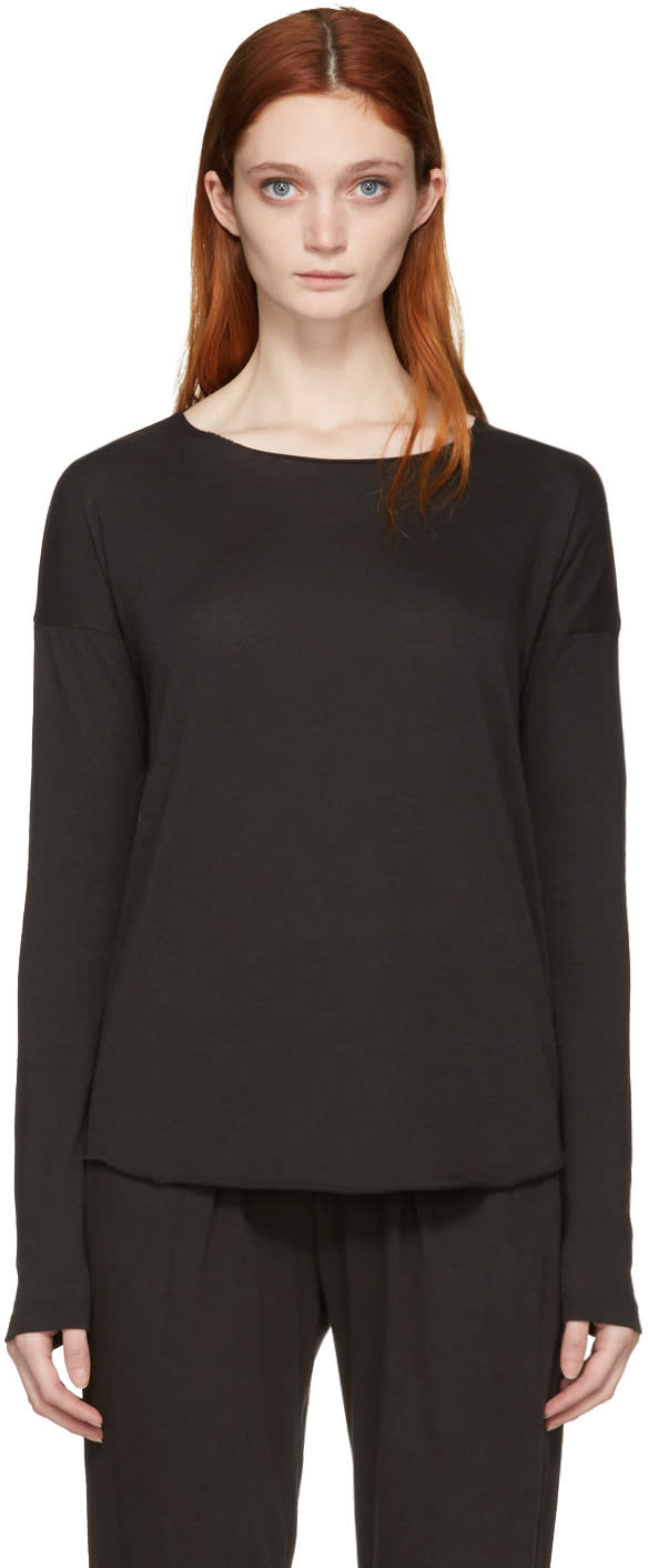 Image of Raquel Allegra Black Jersey Basic T-shirt