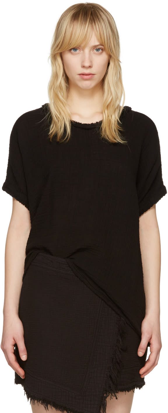 Image of Raquel Allegra Black Gauze Boxy T-shirt
