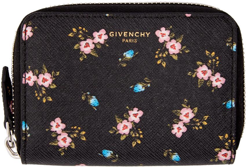 Givenchy Black Mini Zip Hibiscus Wallet