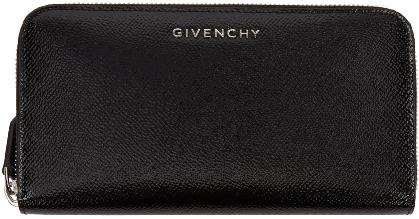 Givenchy Black Patent Long Pandora Wallet
