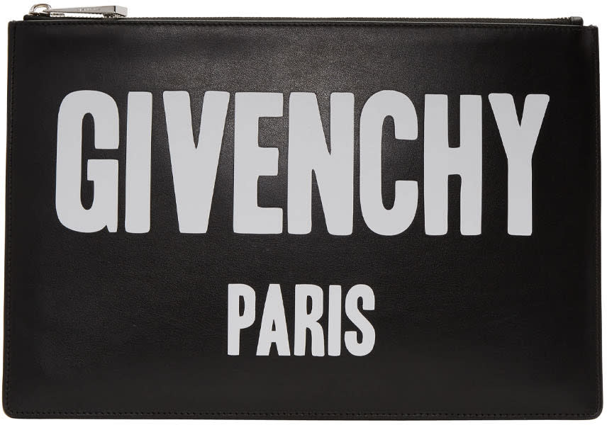Givenchy Black Leather Logo Pouch