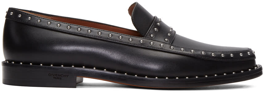 Givenchy Black Studded College Loafers
