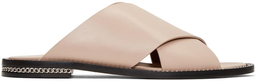 Givenchy Beige Criss Cross Slide Sandals