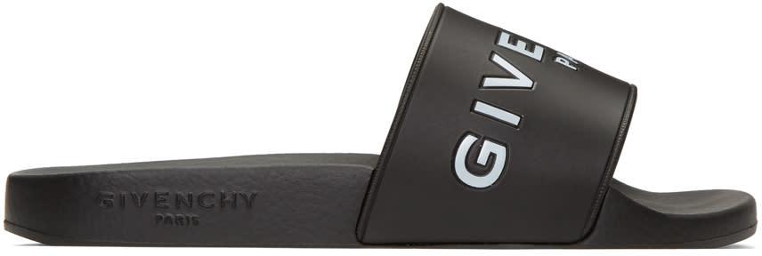 GivenchyBlack Logo Slide Sandals