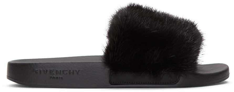 Givenchy Black Mink Beach Slide Sandals