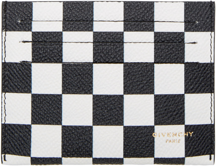 Givenchy Black and White Check Card Holder