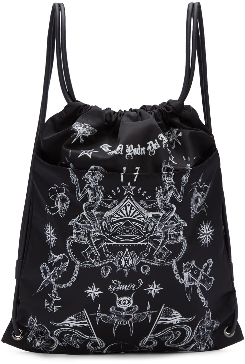 Givenchy ブラック タトゥー プリント リュックサック