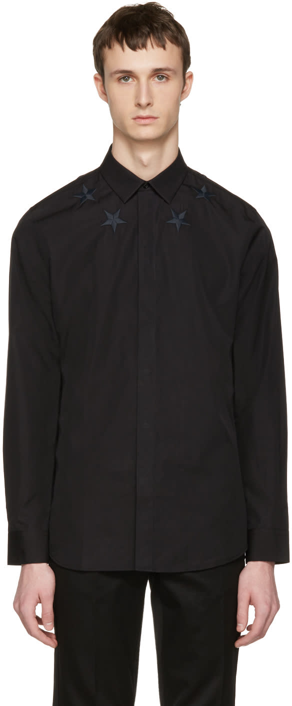 Givenchy Black Embroidered Stars Shirt