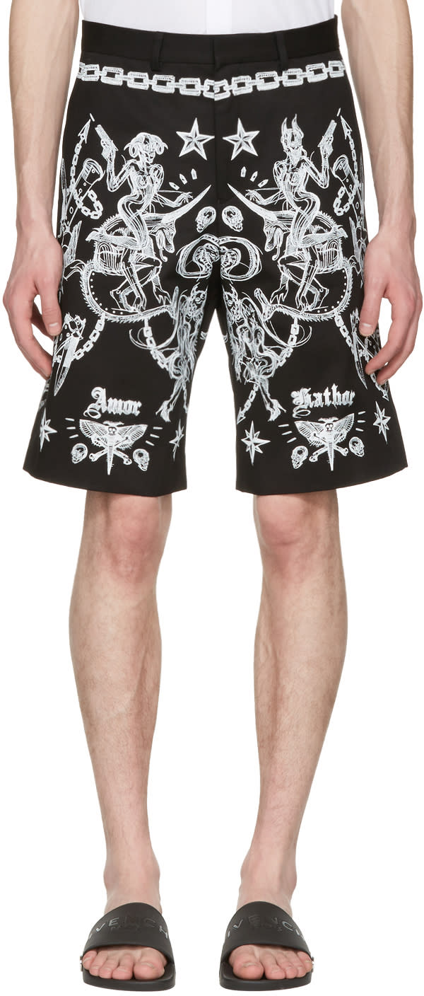 Givenchy Black Tattoo Print Shorts
