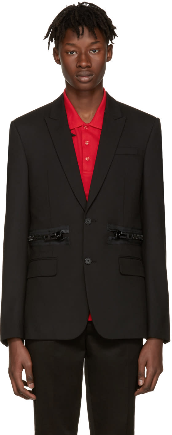 Givenchy Black Waist Zipper Blazer