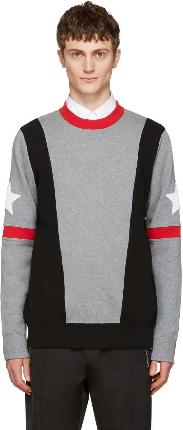 Givenchy Grey Stars and Bands Pullover