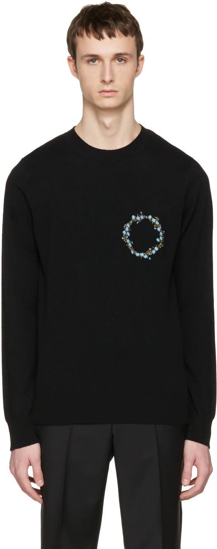 Givenchy Black Cashmere Floral Crest Pullover