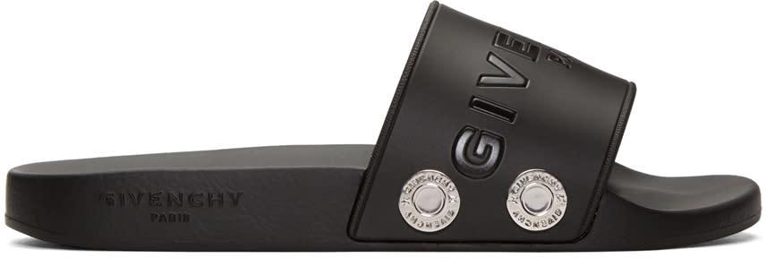 Givenchy Black Rivet Logo Slide Sandals