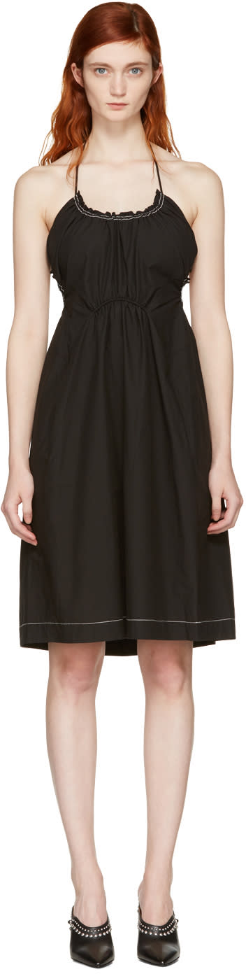 3.1 Phillip Lim Black Gathered Cotton Dress