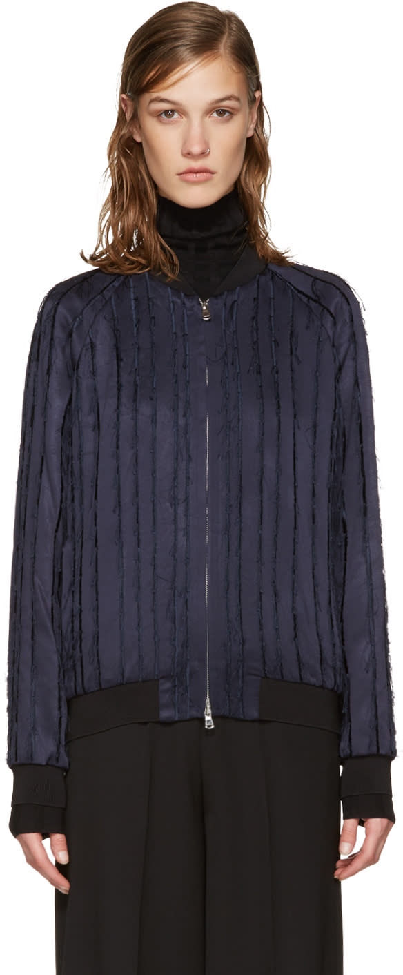 3.1 Phillip Lim Navy Fringed Bomber Jacket