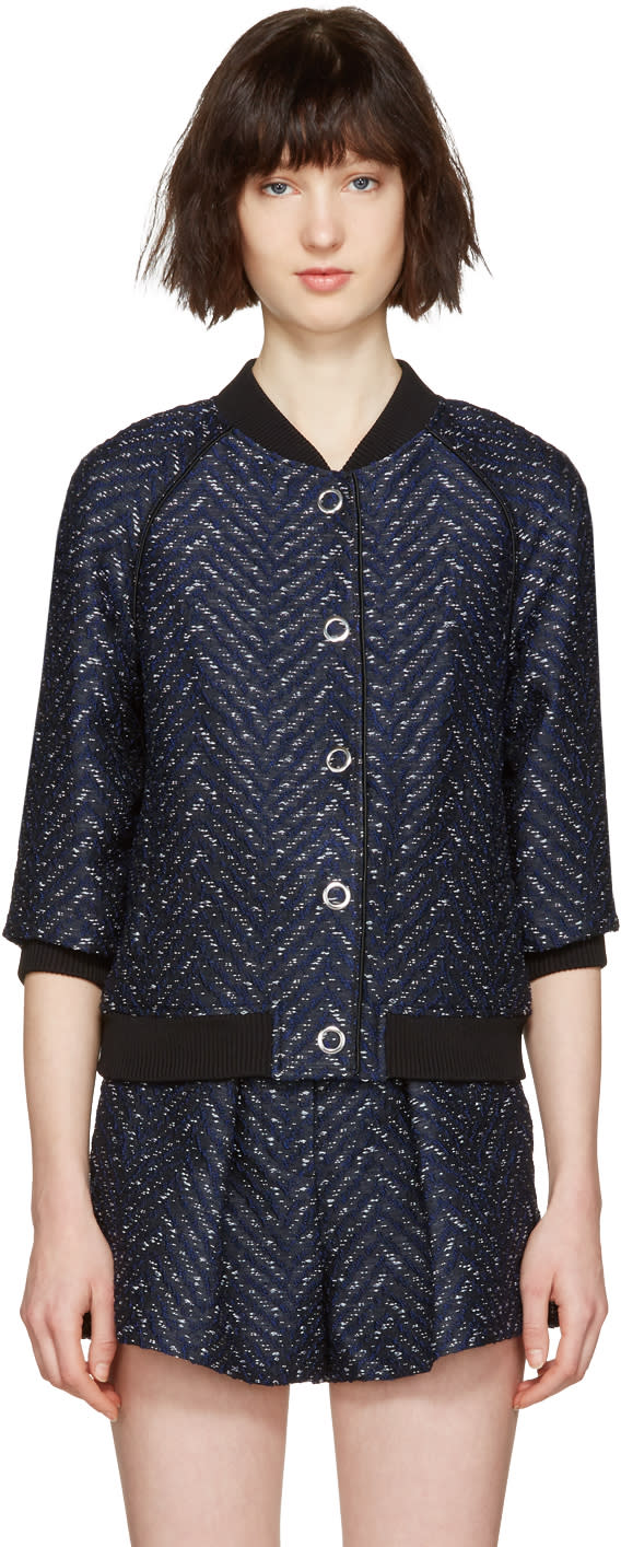 3.1 Phillip Lim Navy Chevron Bomber Jacket