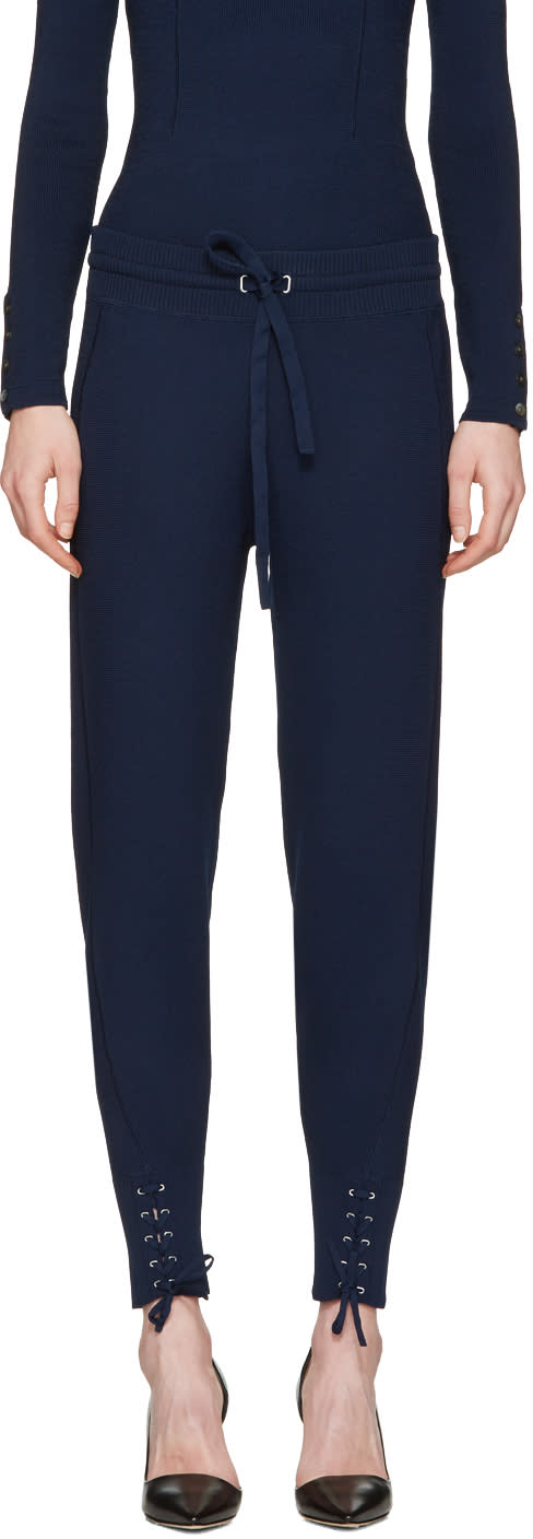 3.1 Phillip Lim Navy Rib Knit Jogger Lounge Pants