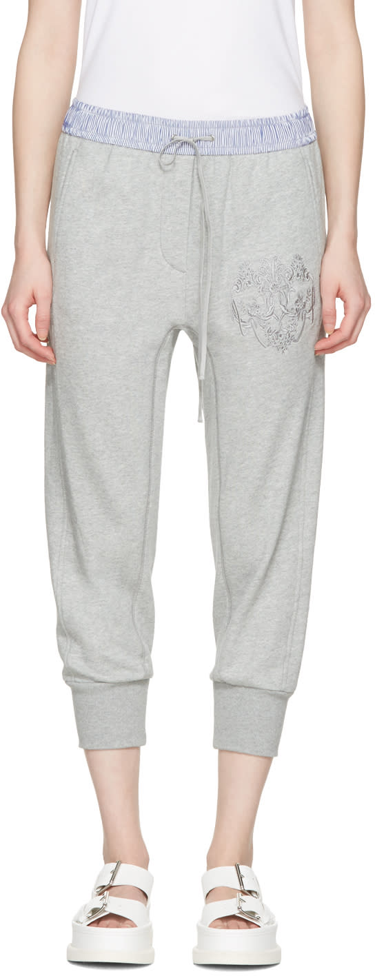 3.1 Phillip Lim Grey Embroidered Lounge Pants