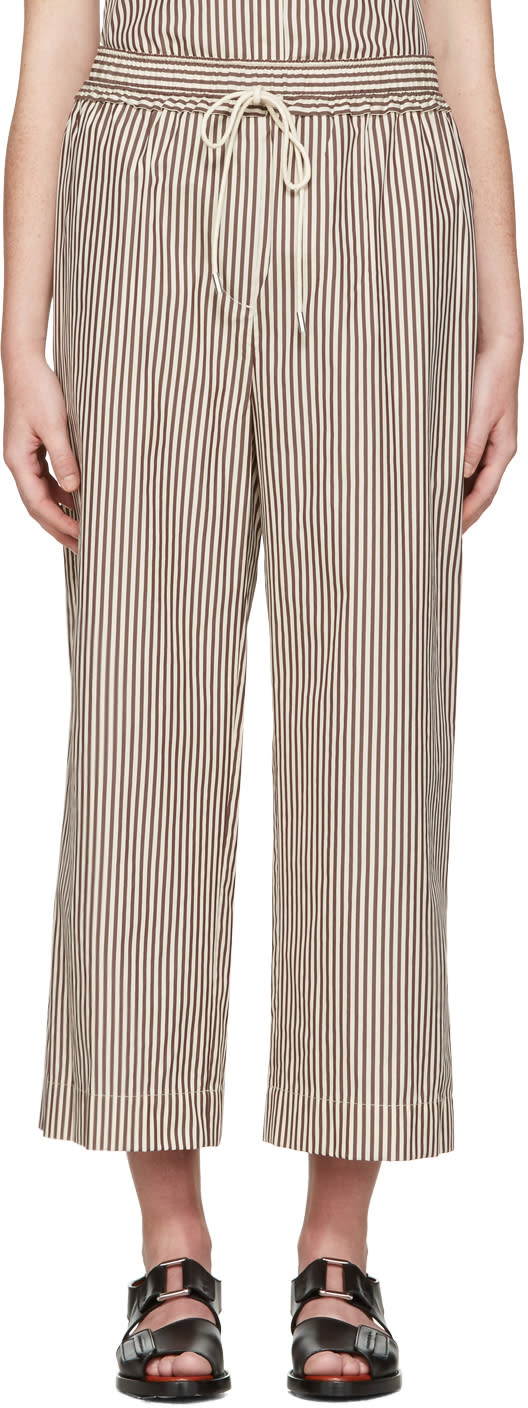 3.1 Phillip Lim White and Brown Striped Wide-leg Trousers