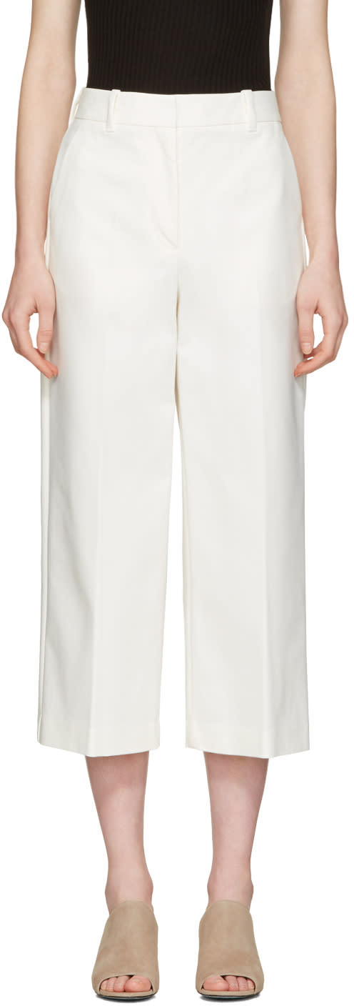 3.1 Phillip Lim White Wide-leg Crop Tailored Trousers
