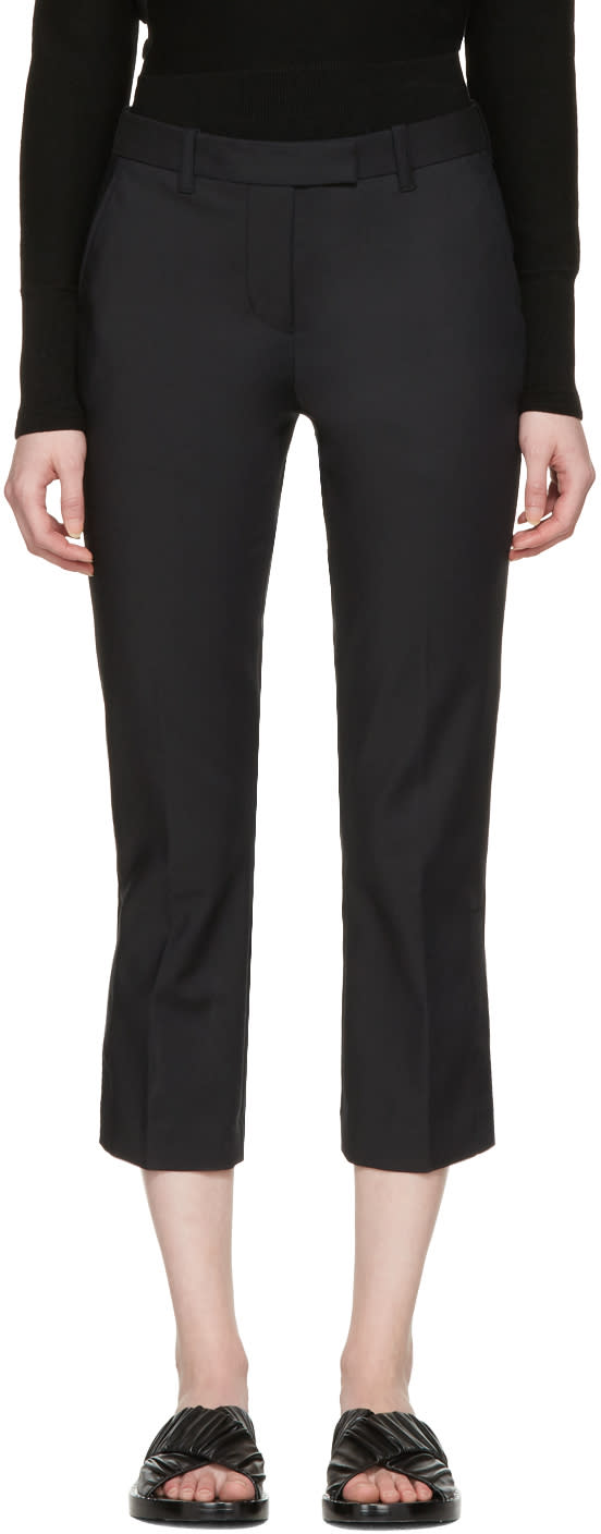 3.1 Phillip Lim Black Kick Flare Cropped Trousers
