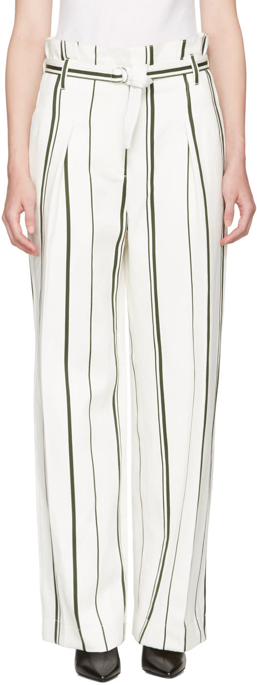 3.1 Phillip Lim Off-white Striped Paper Bag Trousers