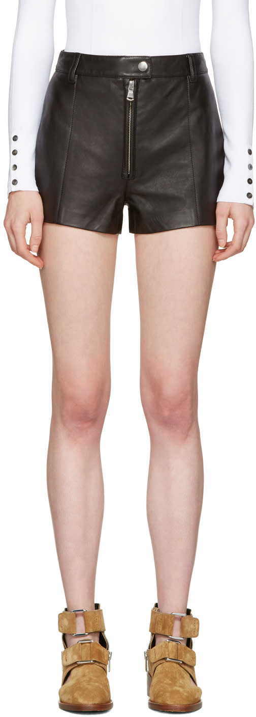 3.1 Phillip Lim Black Classic Leather Shorts