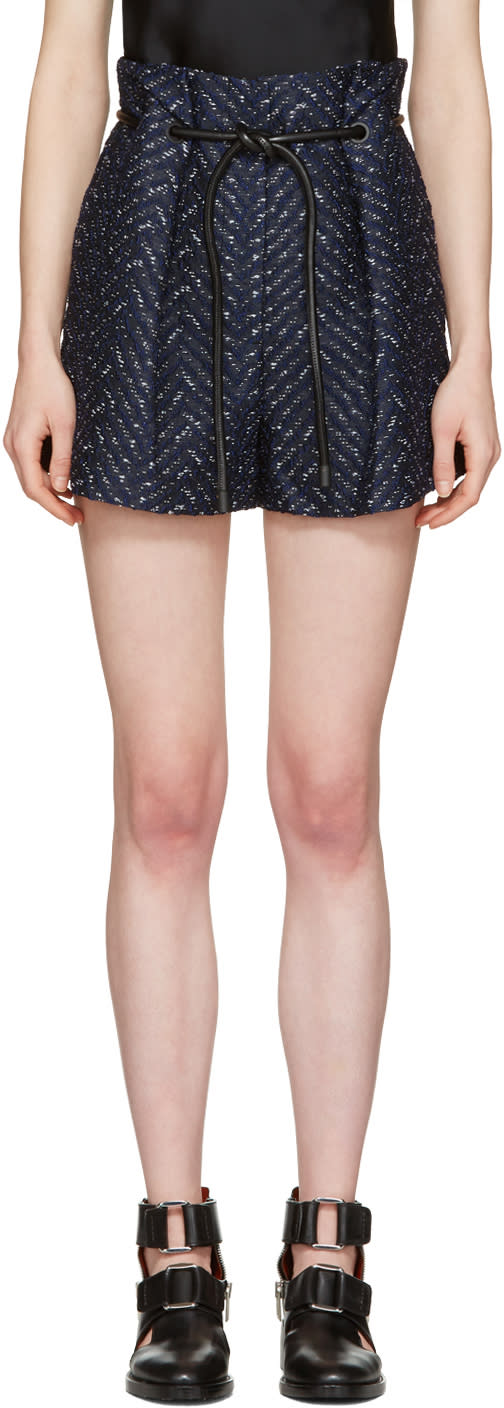 3.1 Phillip Lim Navy Tailored Pleated Chevron Shorts