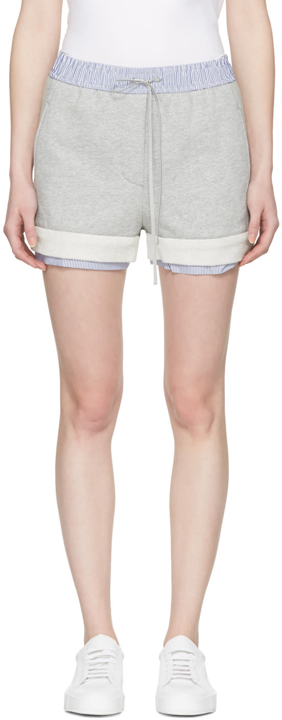 3.1 Phillip Lim Grey Poplin-trimmed Shorts