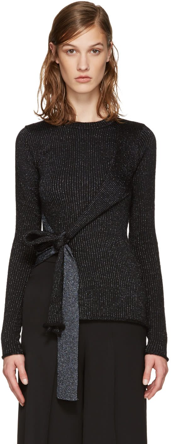 3.1 Phillip Lim Black Tie-up Pullover