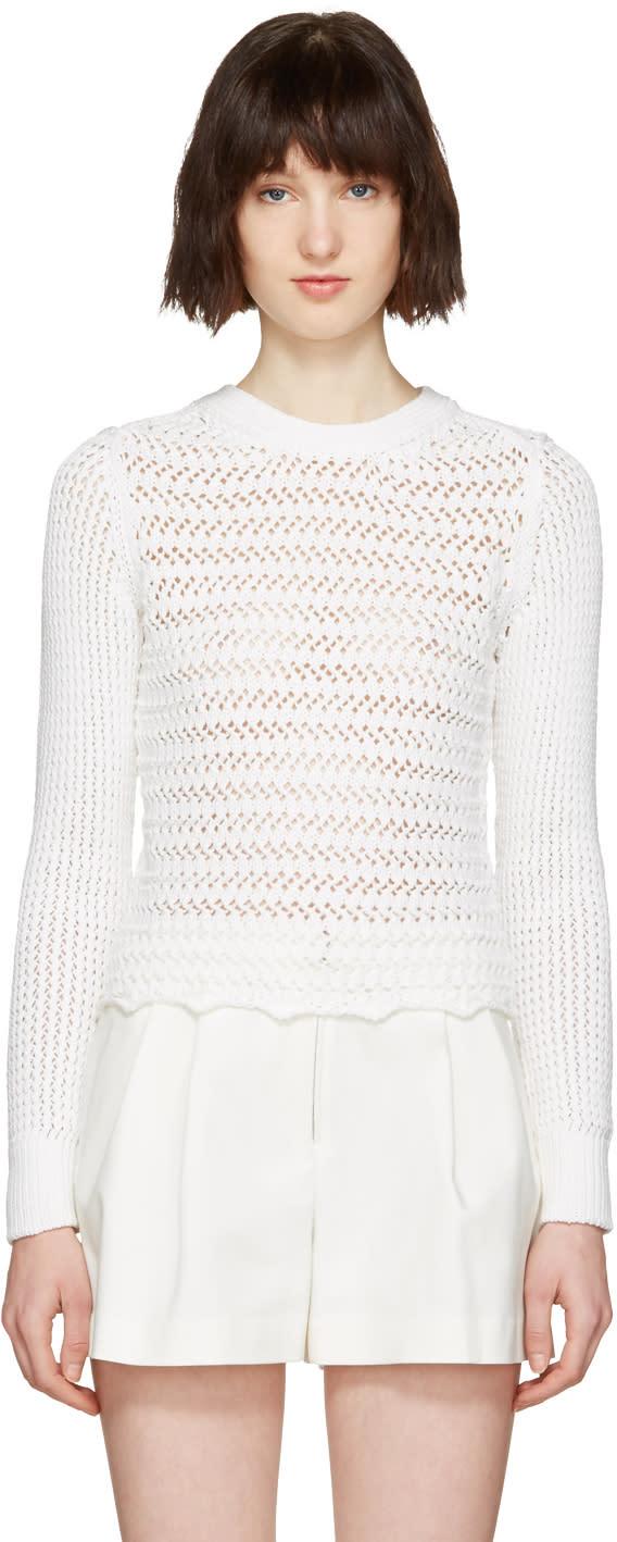 3.1 Phillip Lim White Crochet Pullover