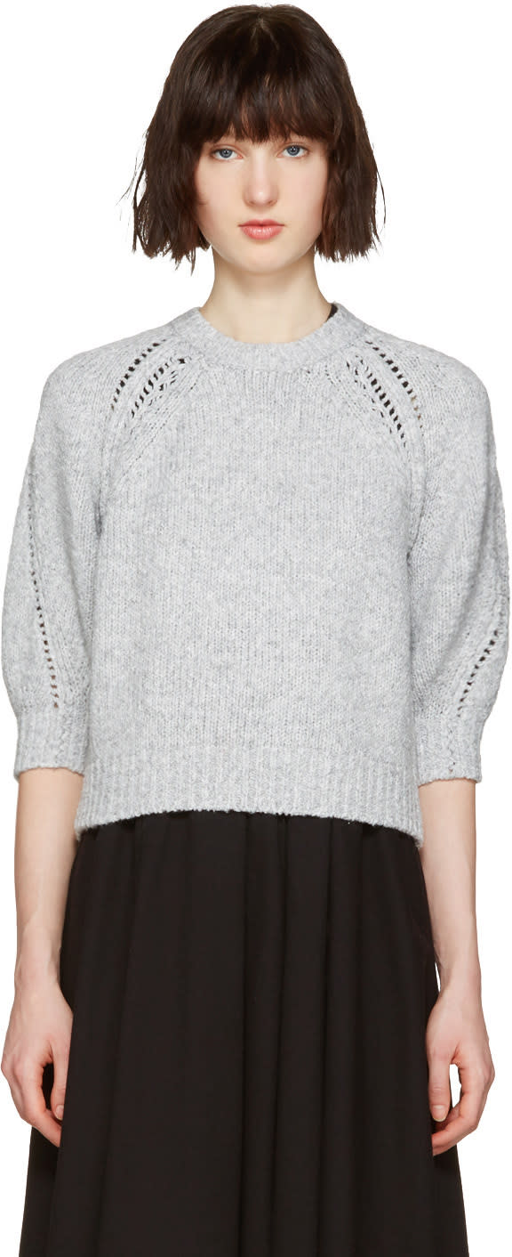 3.1 Phillip Lim Grey Pointelle Pullover