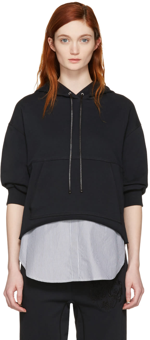 3.1 Phillip Lim Black Combo Embroidered Hoodie