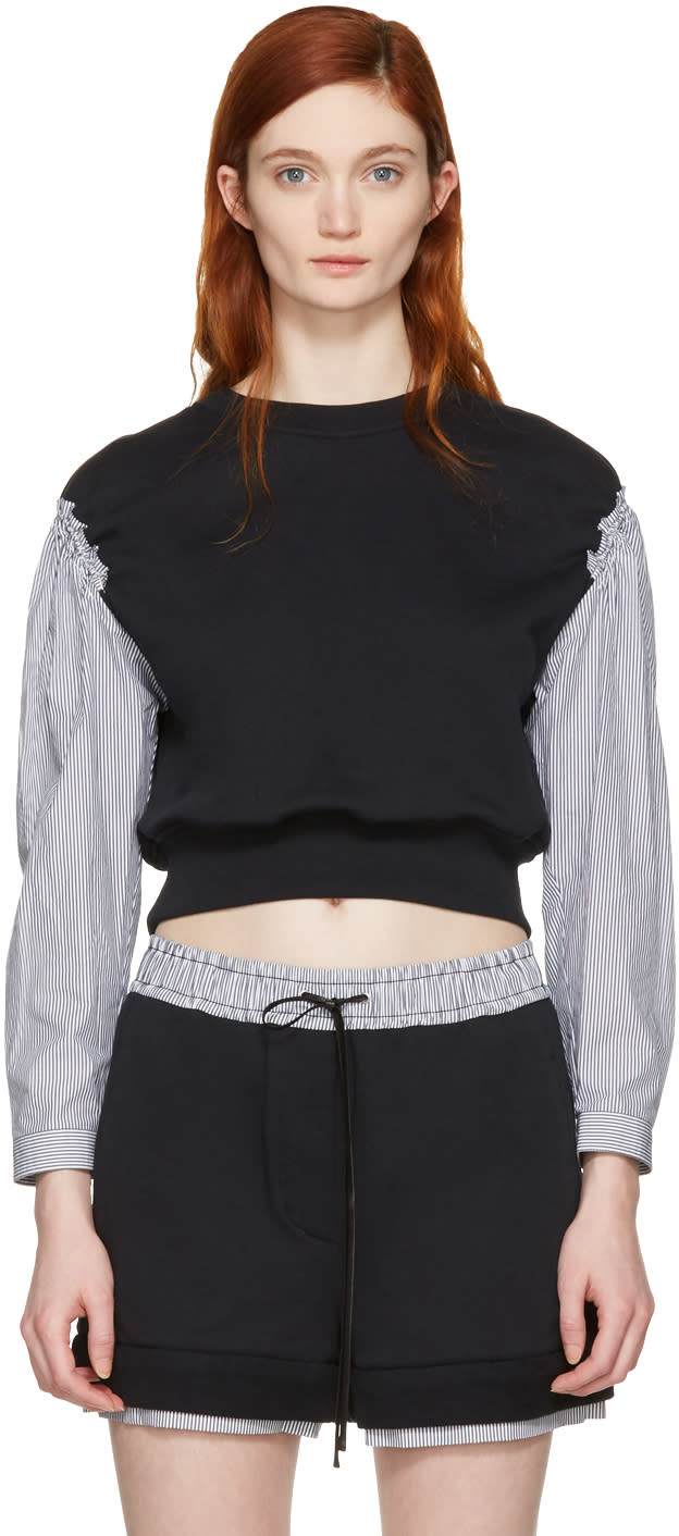 3.1 Phillip Lim Black Poplin Sleeves Pullover