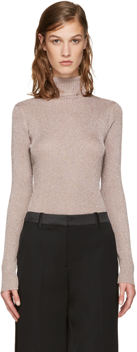3.1 Phillip Lim Pink Lurex Turtleneck
