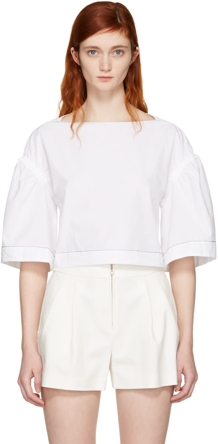 3.1 Phillip Lim White Wide Sleeve Ruched Blouse