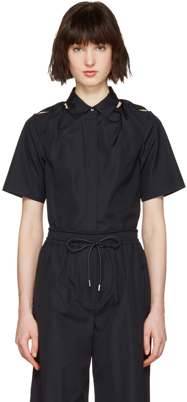 3.1 Phillip Lim Navy Shoulder Knot Shirt