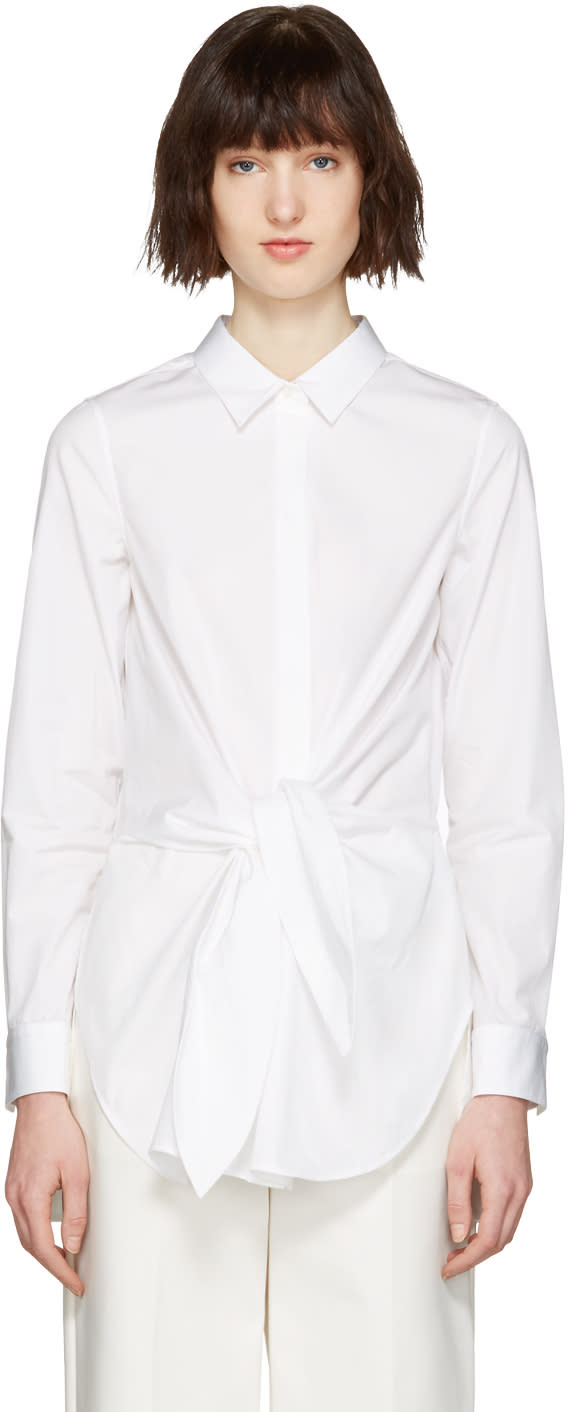 3.1 Phillip Lim White Front Knot Shirt