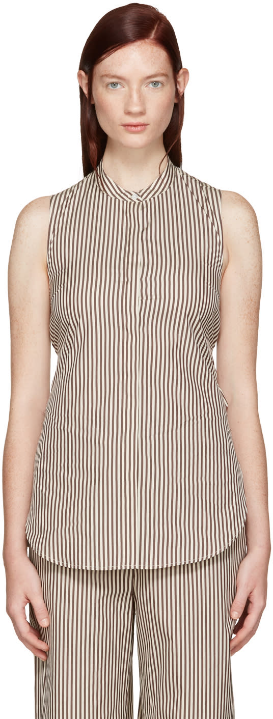 3.1 Phillip Lim White and Brown Stripe Twist Back Shirt