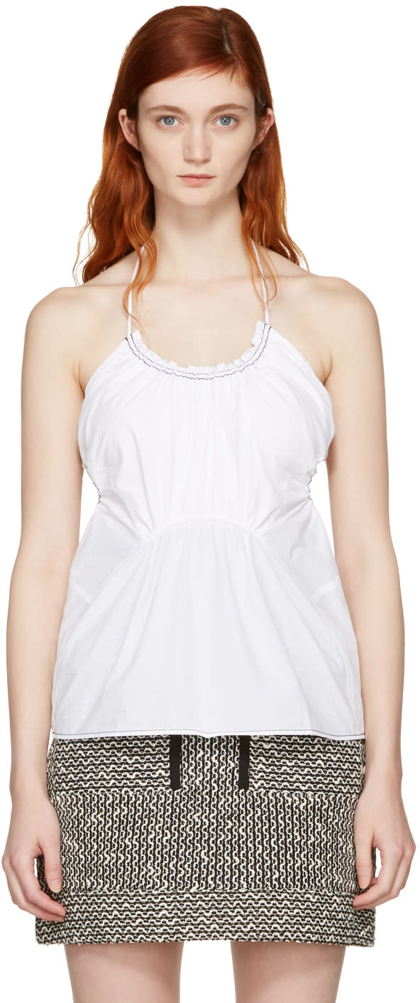 3.1 Phillip Lim White Gathered Tank Top