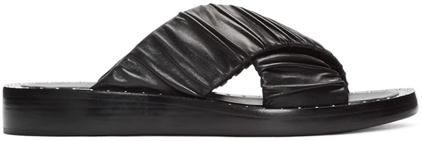 3.1 Phillip Lim Black Ruched Sandals