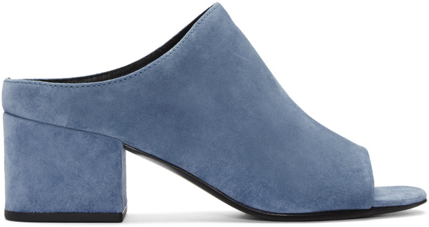 3.1 Phillip Lim Blue Suede Cube Slip-on Sandals