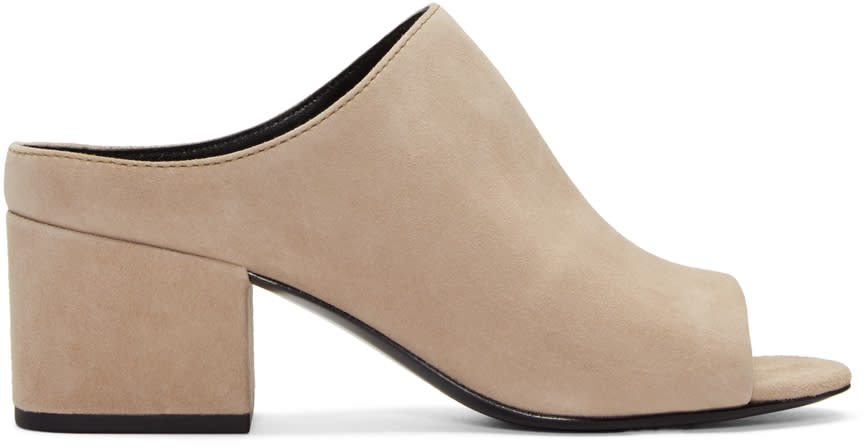 3.1 Phillip Lim Taupe Suede Cube Slip-on Sandals