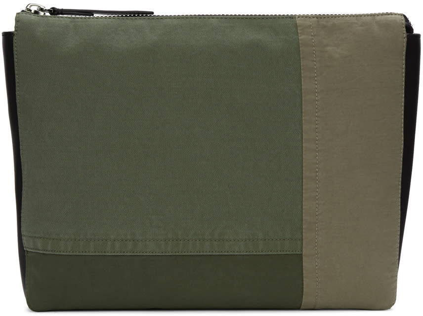 3.1 Phillip Lim Green Patchwork 31 Hour Document Holder