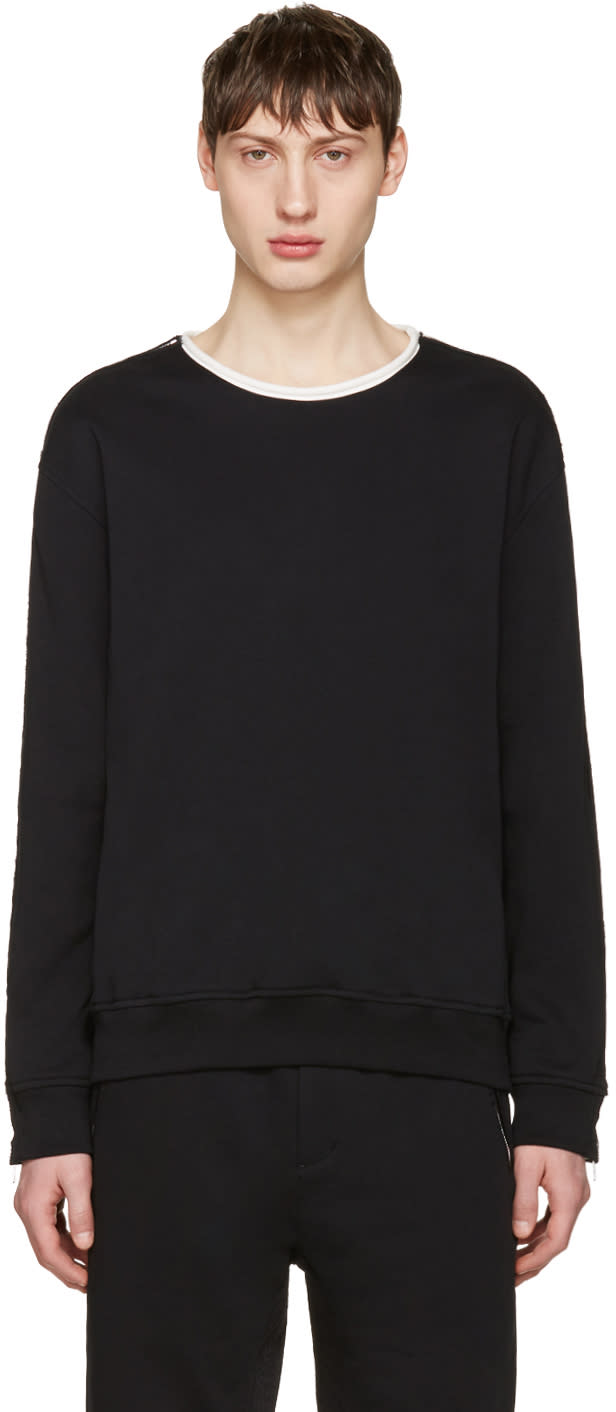 3.1 Phillip Lim Black Zip Sleeve Roll Edge Pullover