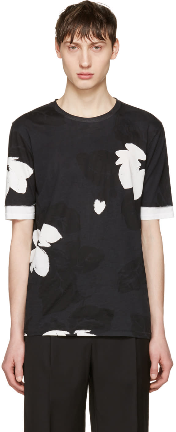 3.1 Phillip Lim Black Floral T-shirt
