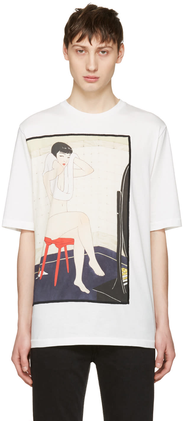 3.1 Phillip Lim White Woman On Stool T-shirt