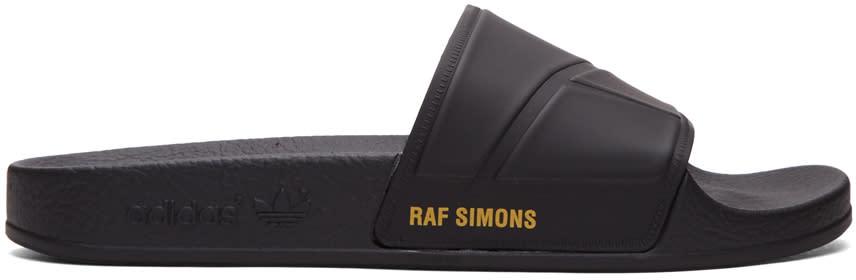 Raf Simons Black Adidas Originals Edition Adilette Slide Sandals