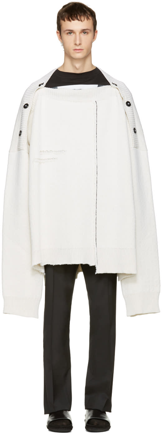 Raf Simons White Oversized Distorted Straight-neck Sweater